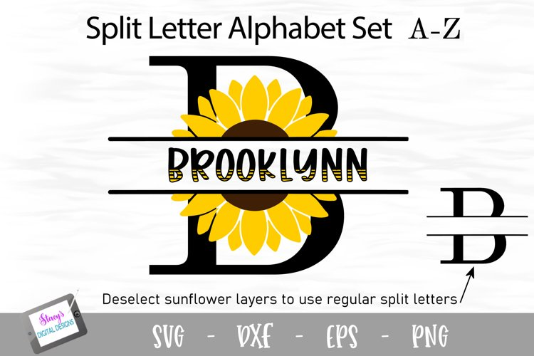 Sunflower Split Letters A-Z - 26 Split Monogram SVG files