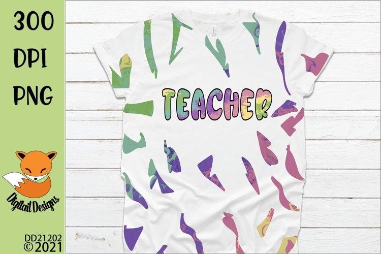 Teacher Design & Full sheet Pattern for Tie Dye Sublimation example image 1