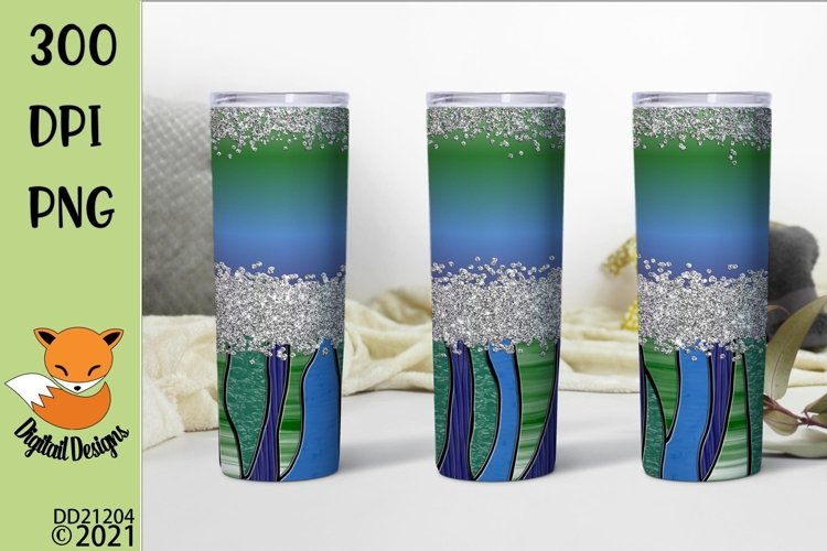 Green Stained Glass Effect Skinny Tumbler Sublimation example image 1