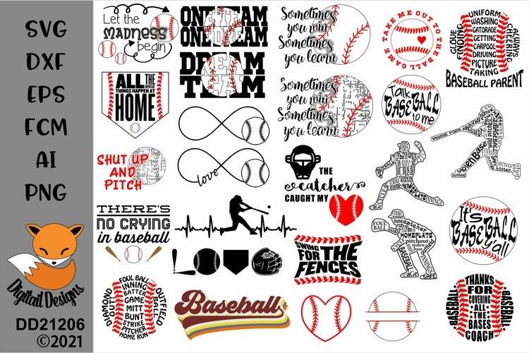 Baseball Bundle 24 SVG for Silhouette, Cricut, Scan N Cut example image 1