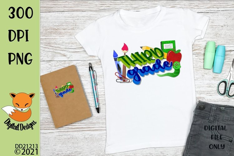 Back to School Third Grade Sublimation Design example image 1