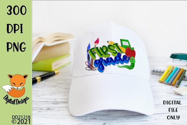 Back to School First Grade Sublimation Design example image 1