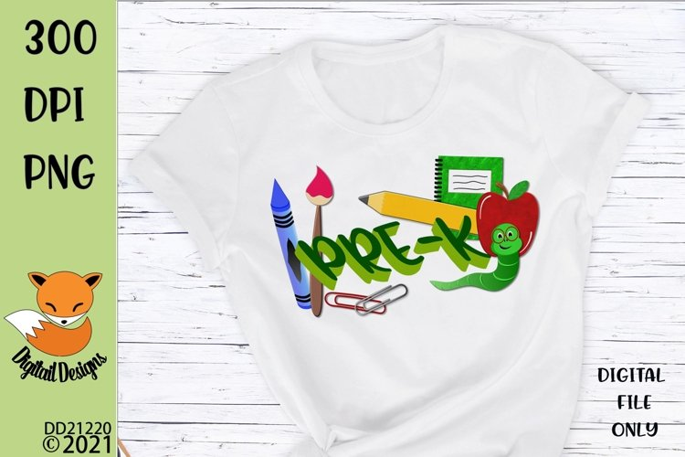 Back to School Pre-K Sublimation Design example image 1