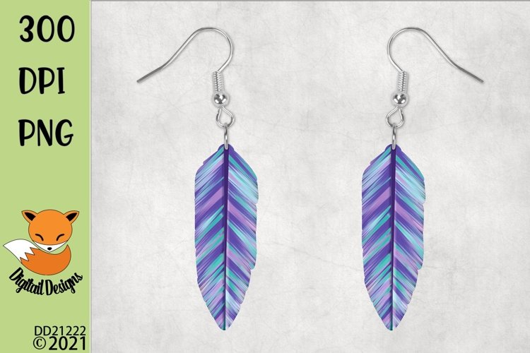 Boho Feather Earrings for MDF Blanks example image 1