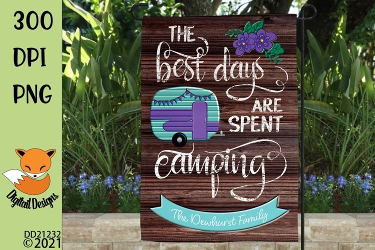 The Best Days Are Spent Camping Flag Sublimation Design example image 1