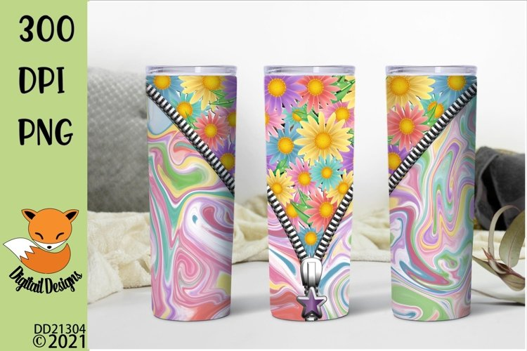 Floral Tie Dye Skinny Zipper Tumbler Sublimation PNG example image 1