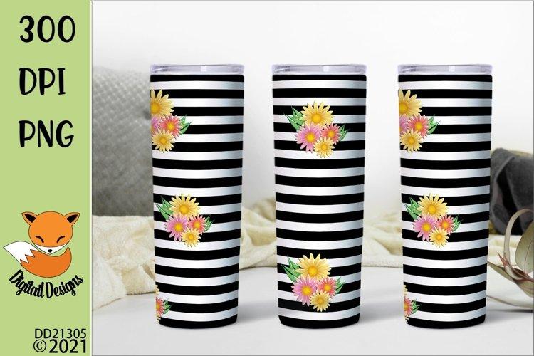 Black Striped Floral Skinny Tumbler Sublimation PNG example image 1