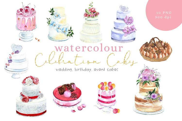 Watercolour Cakes clip art, PNG, 300dpi