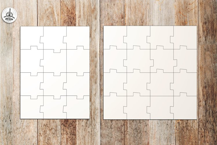 Puzzle Jigsaw SVG Templates Bundle - Classic, Heart, Unusual - Free Design of The Week Design1