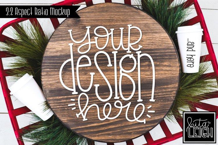 Wood Round Christmas Mockup with Coffee example image 1