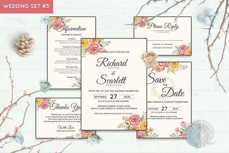 Wedding Invitation Set #3 Watercolor Floral Flower Style example image 1