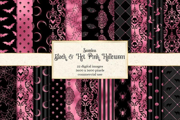 Black and Hot Pink Halloween Digital Paper