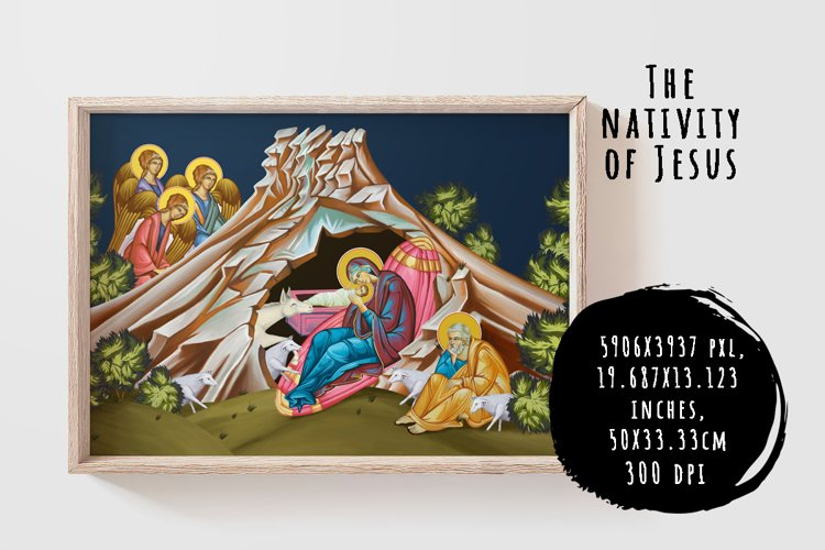 The nativity of Jesus. Illustration in Byzantine style example image 1