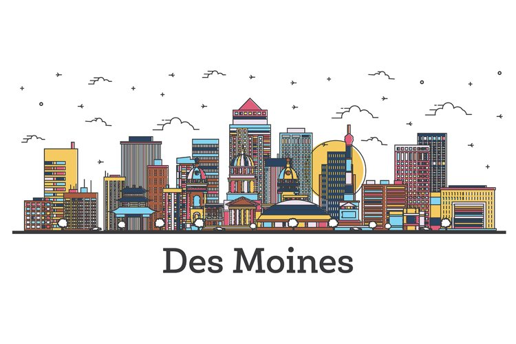 Outline Des Moines Iowa City Skyline with Color Buildings example image 1