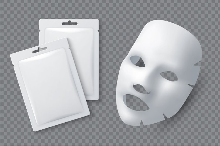 Facial cosmetic mask. Moisturising cotton sheet for woman be example image 1