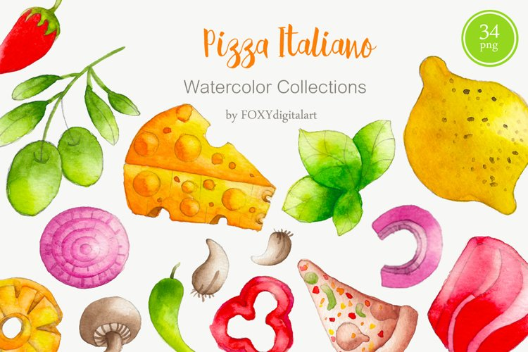 Watercolor Pizza Clipart Pizza Party Pizza Restaurant example image 1