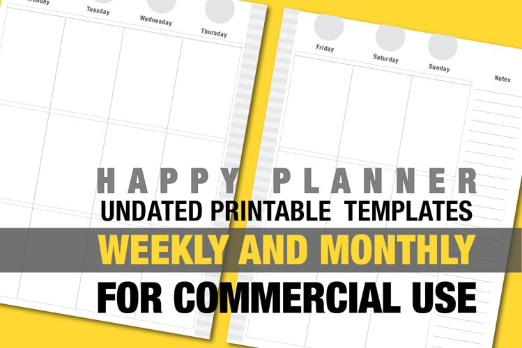 Undated Happy Planner Refill Template Weekly/Monthly gray example image 1