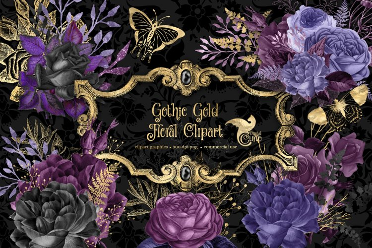 Gothic Gold Floral Clipart example image 1