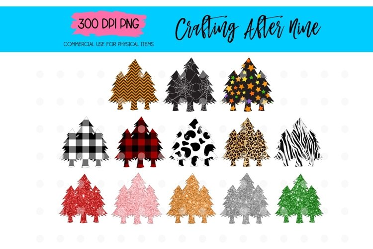 Christmas Tree Sublimation Design Elements Plaid Leopard example image 1