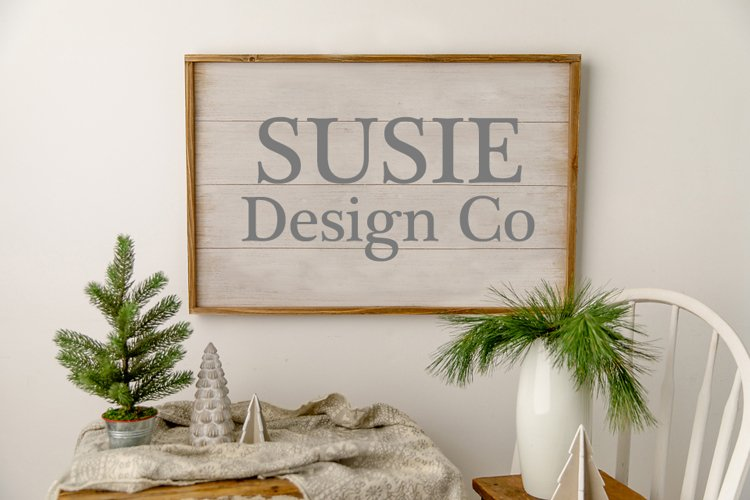 White Christmas Farmhouse Large Wall Sign Mock Up
