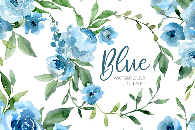 Blue Watercolor Flowers and Green Leaves example image 1