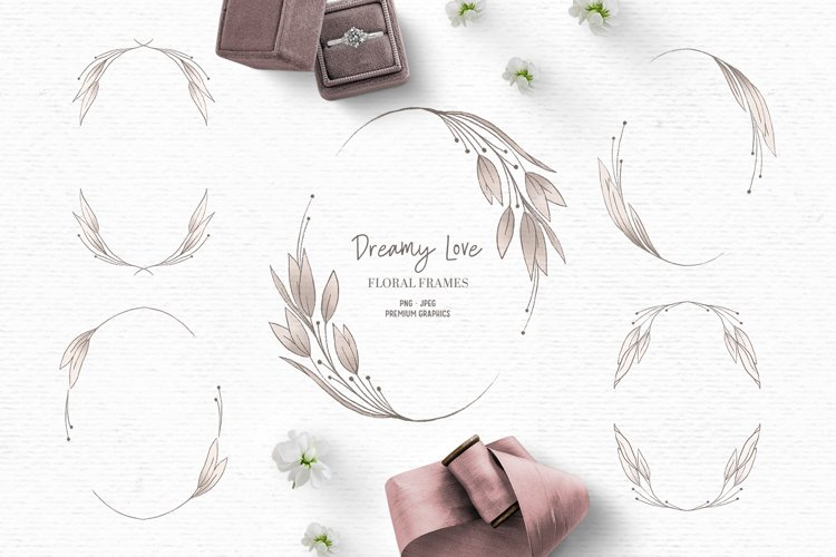 Vintage wedding clipart | Pink floral wreath clipart example image 1