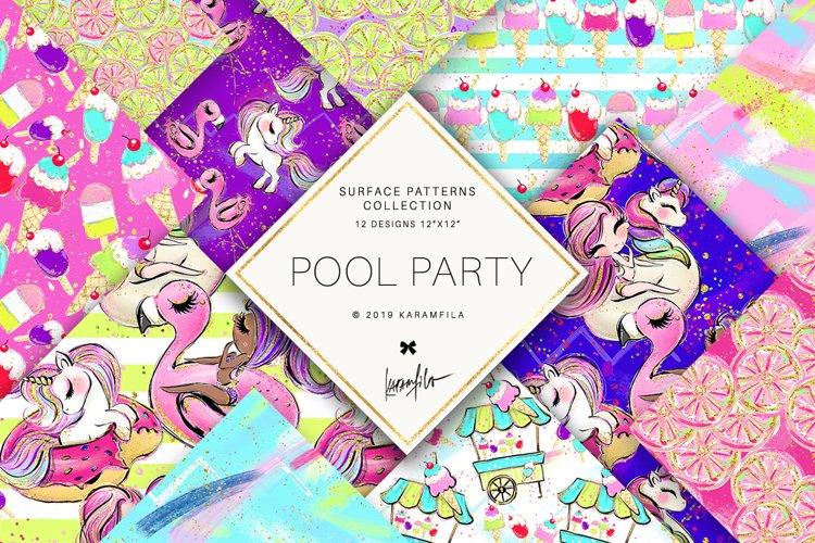 Summer Patterns, Unicorn Flamingo Digital Paper example image 1