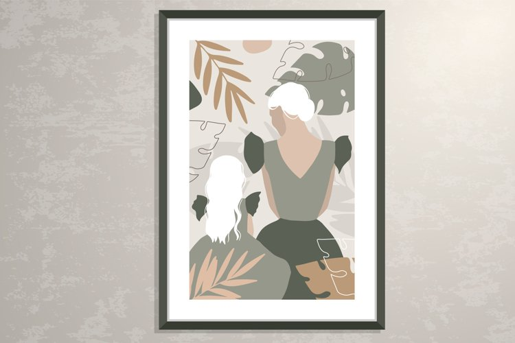 Mother and daughter silhouette poster, wall art poster