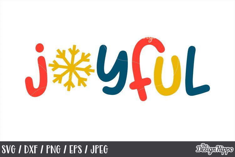 Kids Christmas, Joyful, Snowflake, SVG, PNG, DXF, Cut Files example image 1