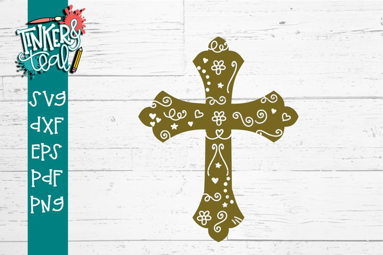 Easter Cross with Flourishes SVG DXF PNG PDF Cut file