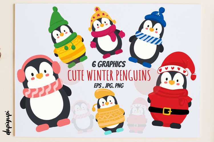Cute Winter Penguins Graphic example image 1