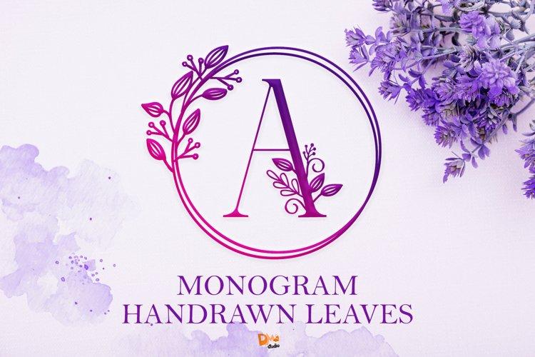 Monogram Handrawn Leaves example image 1