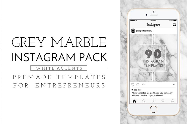 Grey Marble and White Instagram Pack example image 1