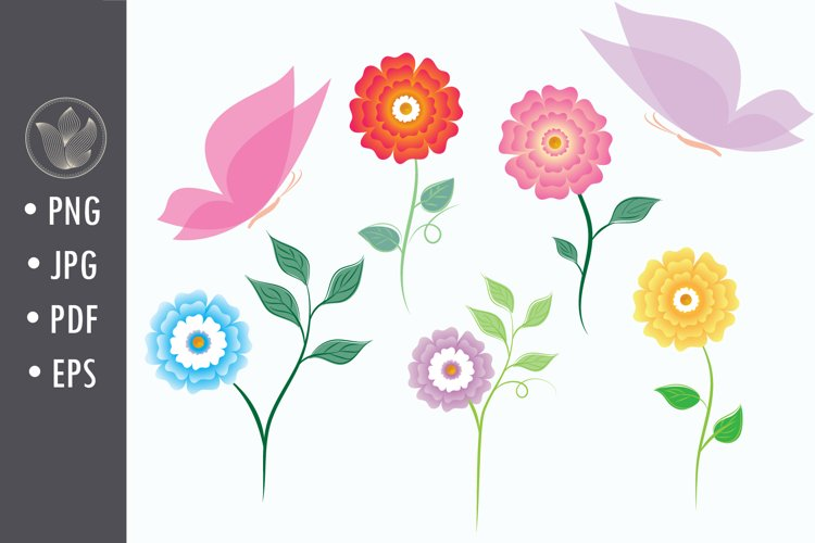 Flowers and butterflies png Clip Art