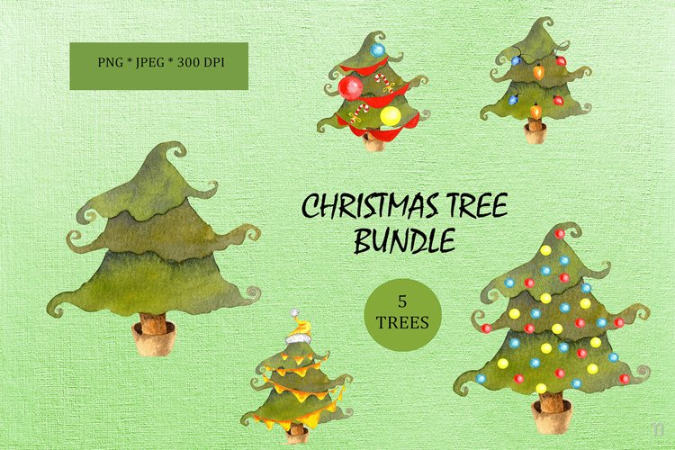 Watercolor Christmas Trees Bundle PNG JPEG example image 1