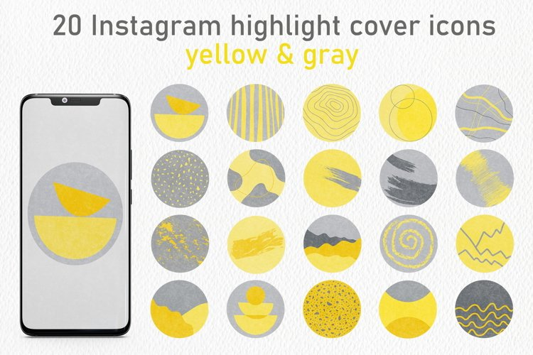 20 Abstract Instagram Story Highlight Icons - Yellow & Gray example image 1
