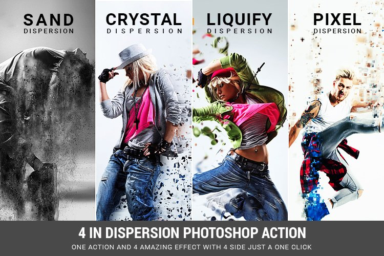 4 in 1 Dispersion Photoshop Action example image 1