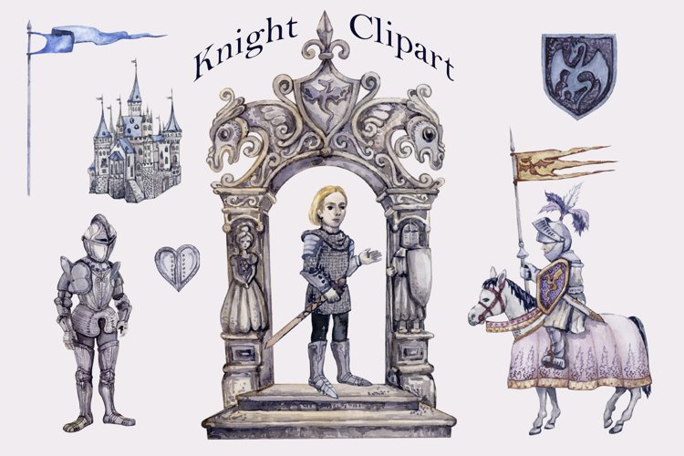 Watercolor Knight Clipart png set, Magic Kingdom Castle example image 1