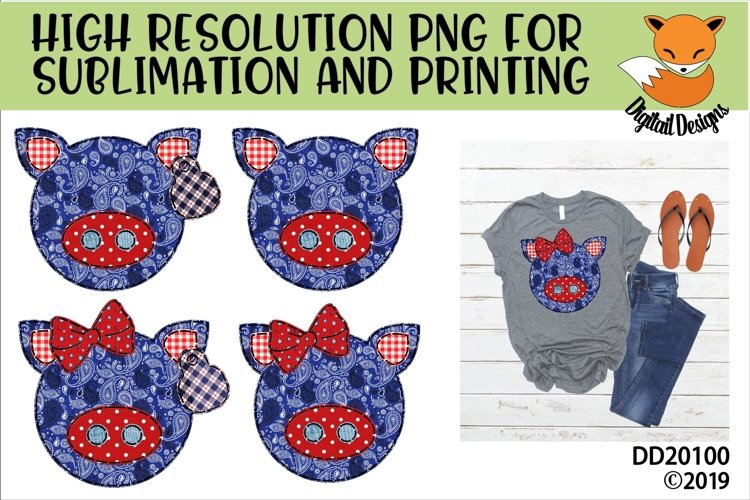 Patriotic Americana Country Faux Patchwork Pig Sublimation example image 1
