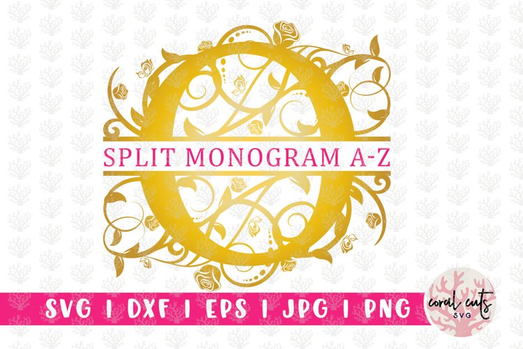 Golden Floral Split Monogram - Alphabets A to Z EPS SVG DXF