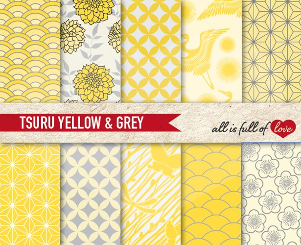 Japanese Graphics Yellow and Grey Digital Background Patterns example image 1