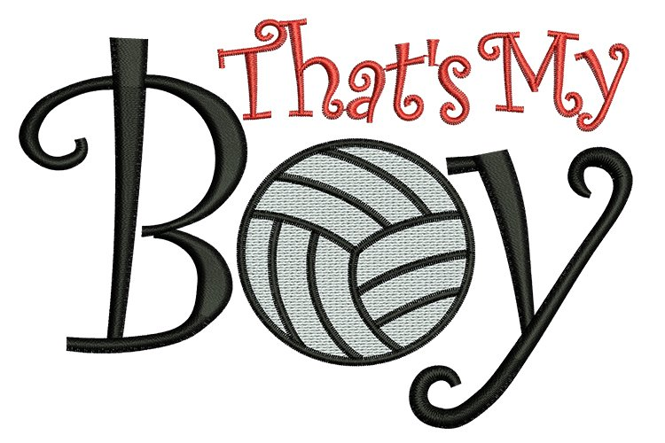 That's my boy volleyball machine embroidery designs example image 1
