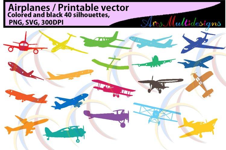 Airplane / aeroplane / printable aeroplane / SVG FILES /silhouette / vector / black & color / airplane silhouette / aeroplane silhouette example image 1
