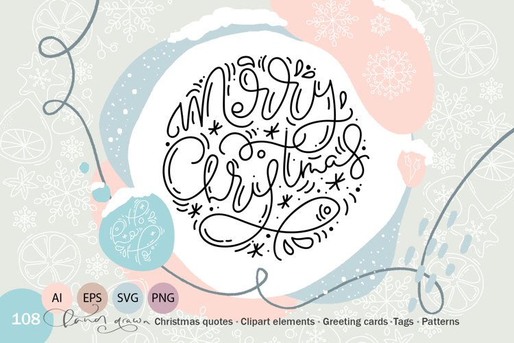 Christmas monoline collection SVG example image 1