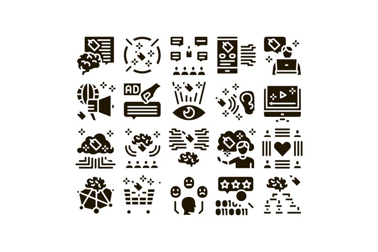 Neuromarketing Business Strategy Icons Set Vector example image 1