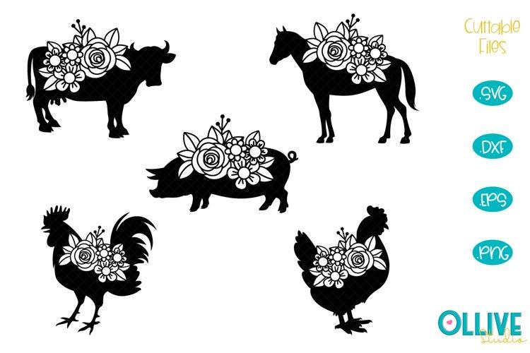 Farm Floral Animals SVG Bundle example image 1