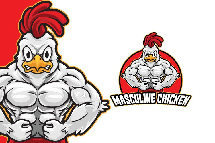 Masculine Chicken Logo Template example image 1