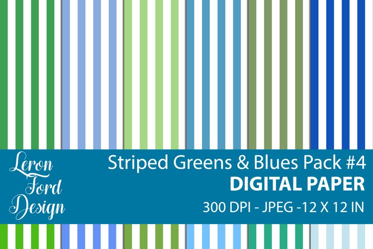 Striped Blues & Greens Pack #4 Digital Paper example image 1
