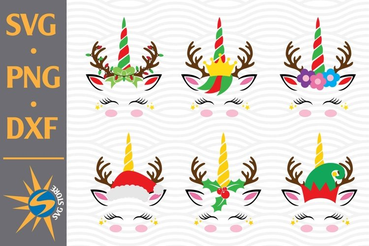Unicorn Christmas SVG, PNG, DXF Digital Files Include