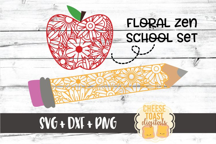 Floral School Zen Doodle Set - Teacher SVG PNG DXF Cut Files example image 1